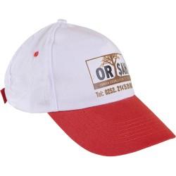 0302-BK Beyaz Şapka - Kırmızı Siperli