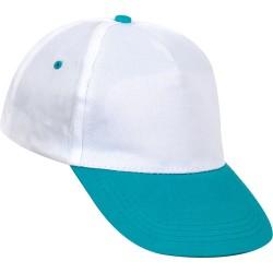 0101-BTZ Beyaz Şapka - Turkuaz Siperli