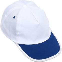 0101-23 Beyaz Şapka - Saks Mavi Biyeli