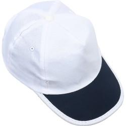 0101-06 Beyaz Şapka - Lacivert Biyeli